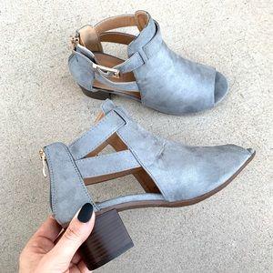 Vegan Suede Blue Grey Block Peep Toe Ankle Booties